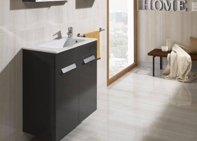 Mueble de baño base Roca Pack Debba con puertas y lavabo 800 mm Real