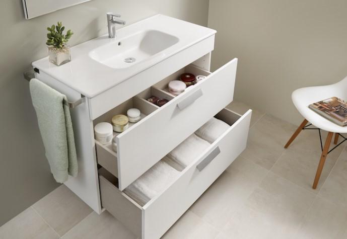 Mueble de baño base Roca Pack Debba de dos cajones y lavabo 1000 mm Real