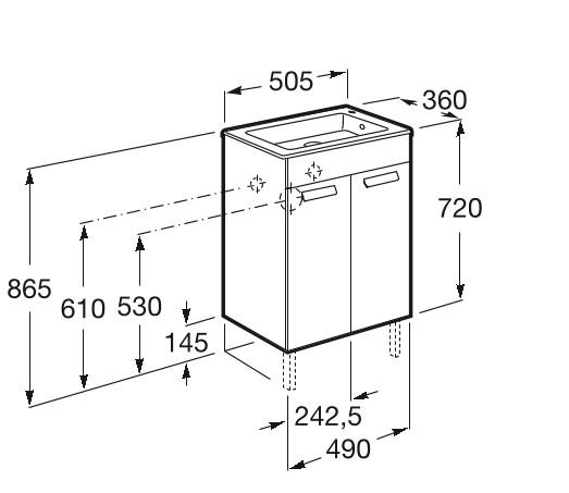 Mueble de baño base Roca Unik Debba con puertas y lavabo 500 mm Medidas