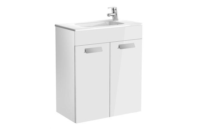 Mueble de baño base Roca Unik Debba con puertas y lavabo 600 mm Blanco brillo