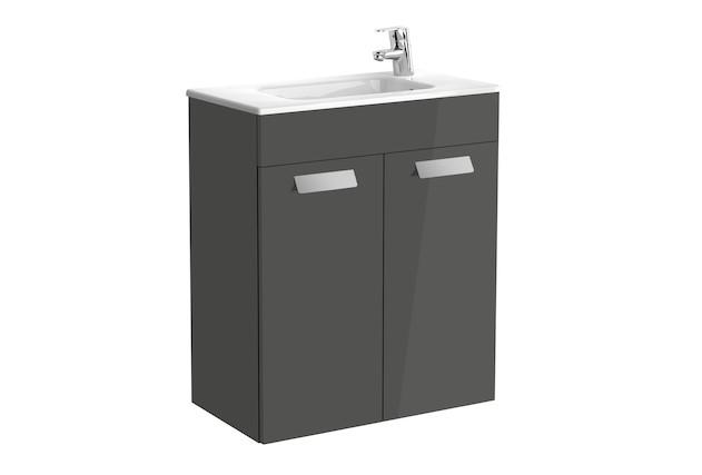 Mueble de baño base Roca Unik Debba con puertas y lavabo 600 mm Gris antracita