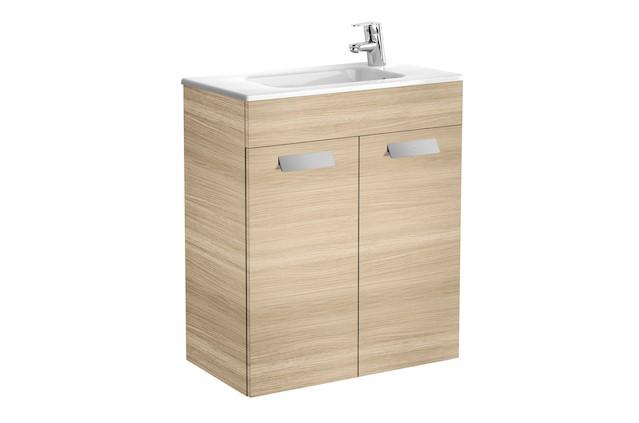 Mueble de baño base Roca Unik Debba con puertas y lavabo 600 mm Roble texturizado