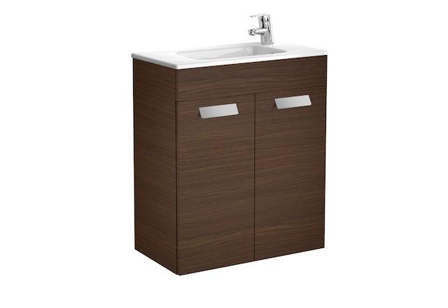 Mueble de baño base Roca Unik Debba con puertas y lavabo 600 mm Wenge texturizado