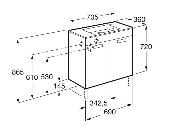 Mueble de baño base Roca Unik Debba con puertas y lavabo 700 mm Medidas