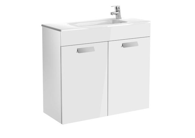 Mueble de baño base Roca Unik Debba con puertas y lavabo 800 mm Blanco brillo
