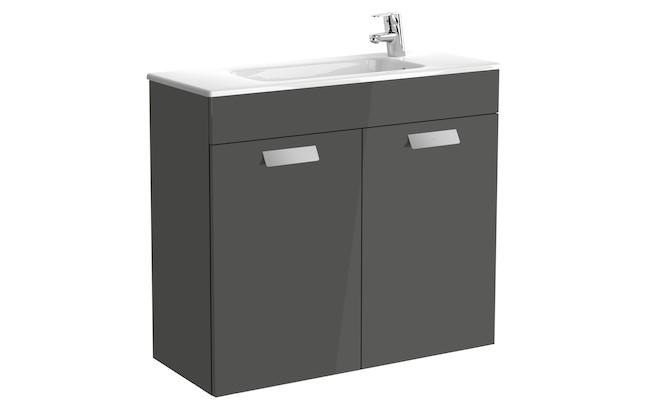 Mueble de baño base Roca Unik Debba con puertas y lavabo 800 mm Gris antracita