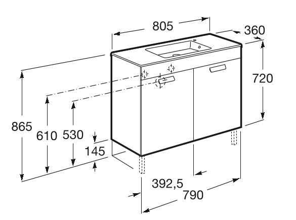 Mueble de baño base Roca Unik Debba con puertas y lavabo 800 mm Medidas
