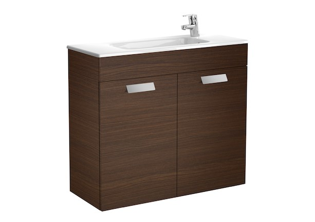 Mueble de baño base Roca Unik Debba con puertas y lavabo 800 mm Wenge texturizado