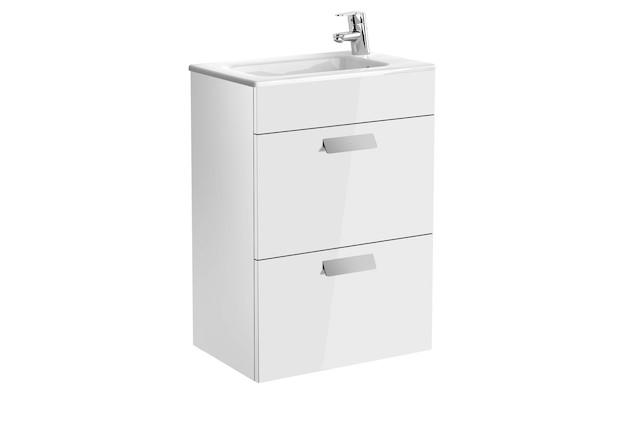 Mueble de baño base Roca Unik Debba de dos cajones y lavabo 600 mm Blanco brillo