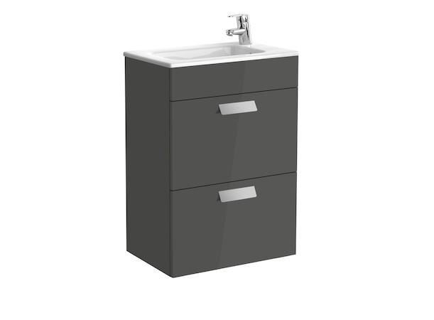 Mueble de baño base Roca Unik Debba de dos cajones y lavabo 600 mm Gris antracita