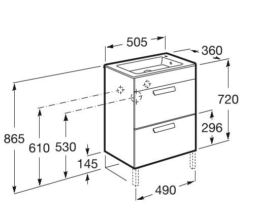 Mueble de baño base Roca Unik Debba de dos cajones y lavabo 600 mm Medidas