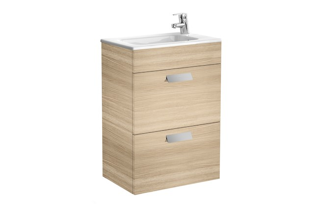 Mueble de baño base Roca Unik Debba de dos cajones y lavabo 600 mm Roble texturizado