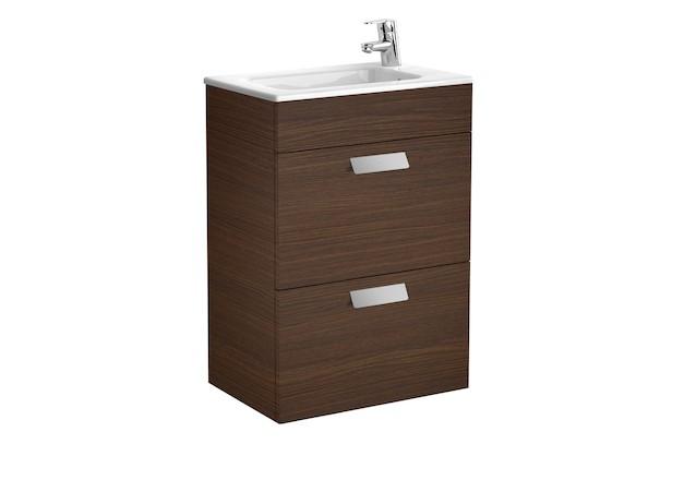 Mueble de baño base Roca Unik Debba de dos cajones y lavabo 600 mm Wenge texturizado