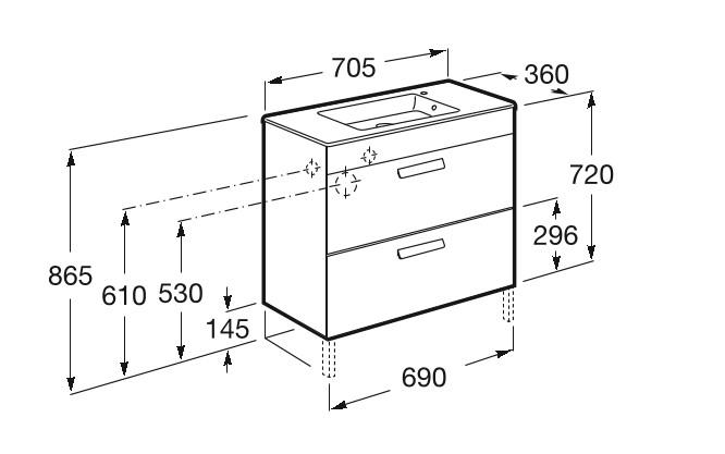 Mueble de baño base Roca Unik Debba de dos cajones y lavabo 700 mm Medidas