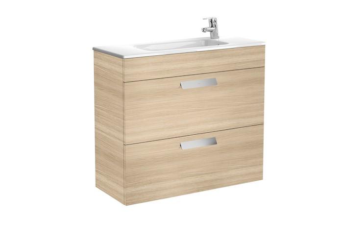 Mueble de baño base Roca Unik Debba de dos cajones y lavabo 800 mm Medidas Roble texturiado