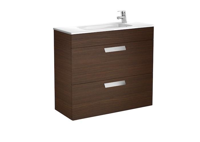 Mueble de baño base Roca Unik Debba de dos cajones y lavabo 800 mm Medidas Wenge texturizado