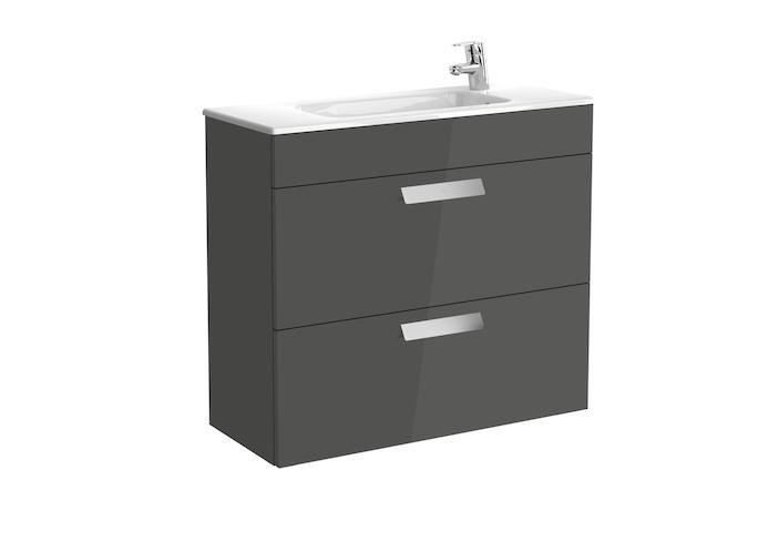 Mueble de baño base Roca Unik Debba de dos cajones y lavabo 800 mm  Gris antracita