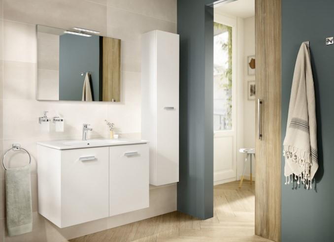 Mueble de baño base Roca  Victoria Basic Pack de dos cajones y lavabo 800 mm Real