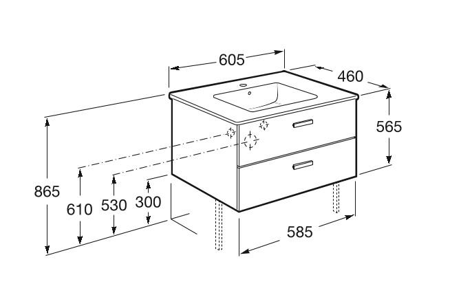 Mueble de baño base Roca  Victoria Basic Unik de dos cajones y lavabo  600 mm Medidas