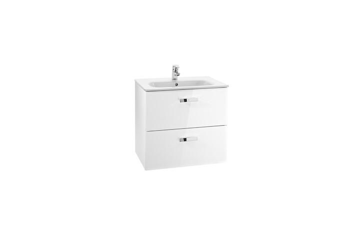 Mueble de baño base Roca  Victoria Basic Unik de dos cajones y lavabo  700 mm Blanco brillo