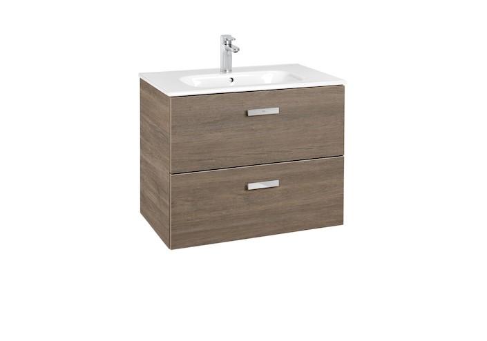 Mueble de baño base Roca  Victoria Basic Unik de dos cajones y lavabo  700 mm Cedro