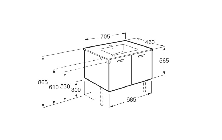 Mueble de baño base Roca  Victoria Basic Unik de dos cajones y lavabo  700 mm Medidas