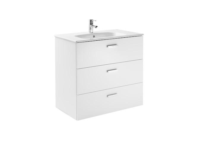 Mueble de baño base Roca  Victoria Basic Unik de tres cajones y lavabo 800 mm Blanco brillo