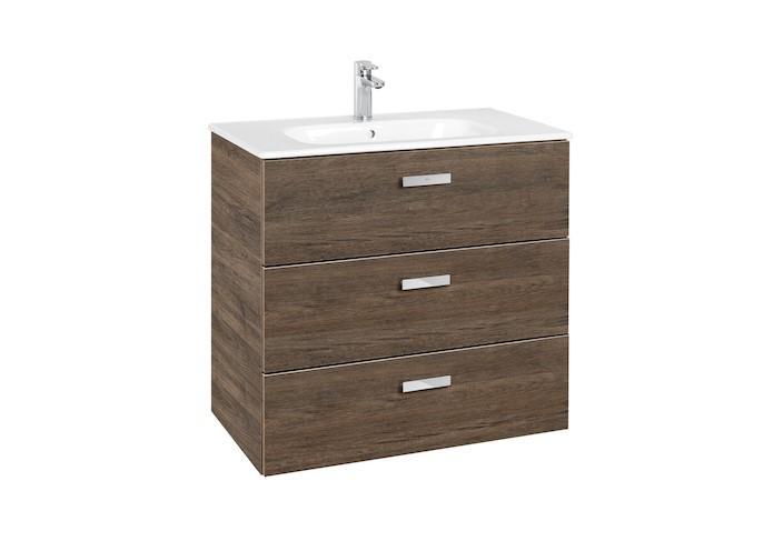 Mueble de baño base Roca  Victoria Basic Unik de tres cajones y lavabo 800 mm Cedro