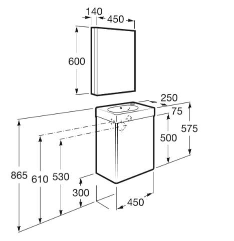 Mueble de baño base Roca de MINI  650mm Medidas