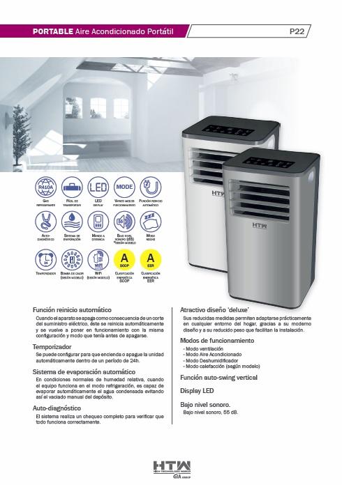 Aire Acondicionado portátil HTW P22 - Ficha de producto