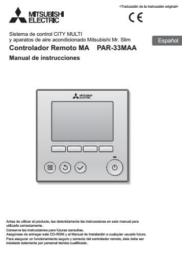 Mando Mitsubishi PAR-33MAA - Manual de instrucciones