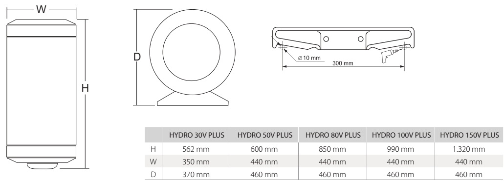 hydro v plus - dimensiones